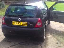 Renault Clio, 2003 (52) Black Hatchback, Manual Diesel, 160,000 miles