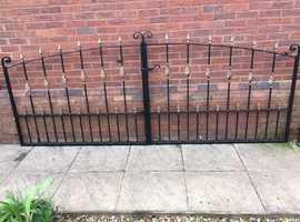 Heavy gauge ornamental steel gates.