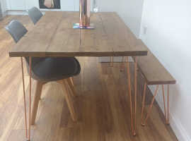 Handmade bespoke dining table and bench set