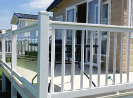 Luxury static caravan on front row pitch at quay West haven holiday park