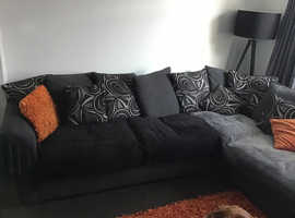 Grey corner sofa, swivel chair & poufa