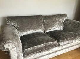 Silver crushed velvet sofa