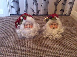 2x Santa Head Baubles