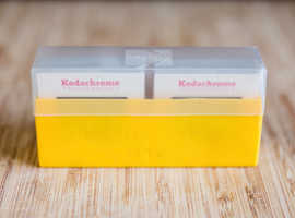 Yellow Kodak Slide Box with 1970's Slides