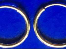 Ladies Jewellery 9ct Gold Sleeper Hoop Earrings 10mm 0.4g.