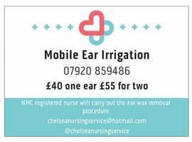 Mobile Ear Wax Removal using ear irrigation / syringing - registered nurse Battersea