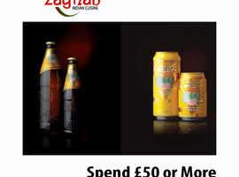 Spend £50 or More Get One Free Cobra Beer | Zaynab Indian Cuisine