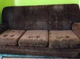 Three seater settee and two armchairs