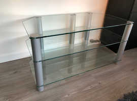 "Glass TV Stand for TVs up to 55"", Clear"