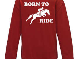 Boys Girls Kids Born To Ride Jumper Sweatshirt Horses Horse Riding Jumping Pony