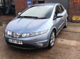 Honda Civic, 2007 (07) Blue Hatchback, Manual Petrol, 123,000 miles