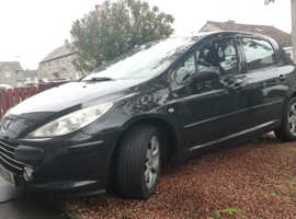 Peugeot 307, 2007 (07) Black Hatchback, Manual Petrol, 124,000 miles
