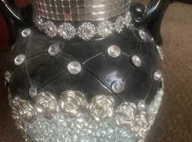 Bling vase  black silver