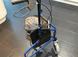 Walker - Three wheeled steel walker with Bag - Brand new unused