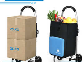 COSTWAY 2 in 1 53L Folding Shopping Trolley Truck Grocery Luggage Carrier Bag with 2 Wheels HW66369BL