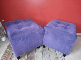 2 x purple pouffes  and other furniture