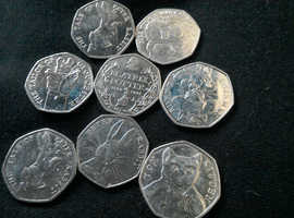 Beatrice Potter Fifty pence coins X 8