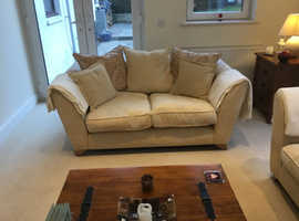 Two matching fabric sofas with pillow-backs for sale