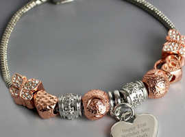 Personalised Message 21cm Rose Gold Charm Bracelet