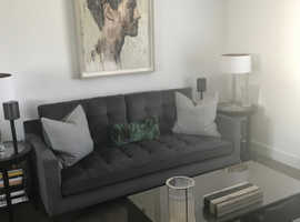 Mid-Century Style Large 3-Seater Charcoal Grey Fabric Sofa
