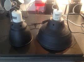 Reptile lamps, hides & bowls & radiator