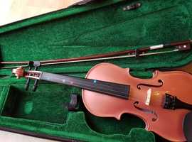 Pink violin with hard case and bow