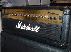 Marshall MG100 DFX 100 watt amp head and matching Marshall 4 x 12 speaker cabinet