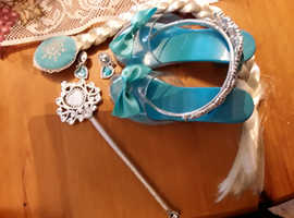 Elsa shoes, crown, wand, hairpiece and earrings