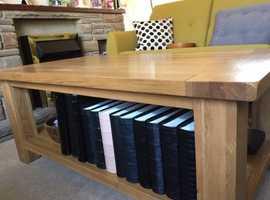 Oak coffee table with handy shelf beneath