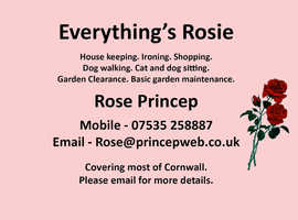 Cleaning and gardening services, dog walking and sitting, cat sitting, Laundry service, ironing, shopping