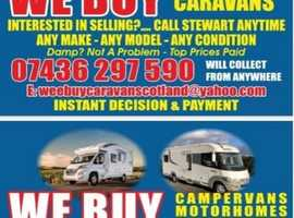 WANTED WANTED  CARAVAN  CAMPERVANS MOTOR HOMES STATIC / MOBILE HOMES ANY MAKE  ANY MODLE  ANY YEAR ANY CONDITION  WILL COLLECT ANY WERE IN SCOTLAND  T