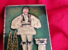 Vintage Brass and enamel matchbox holder