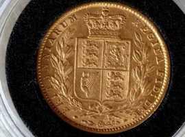 1859 Victoria full shield sovereign good grade
