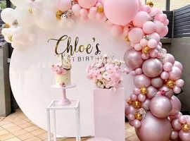 Even planer balloon decorations, backdrops