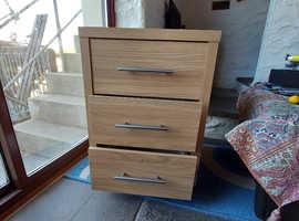Staples office table and 3 drawers light oak veneer