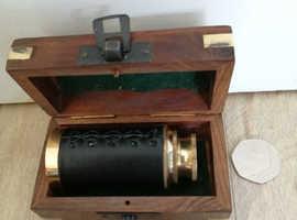 "Solid brass 6"" telescope & wood/brass box nautical Black leather sleeve"