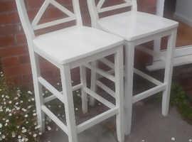 2 White Ikea Ingolf Bar Stools