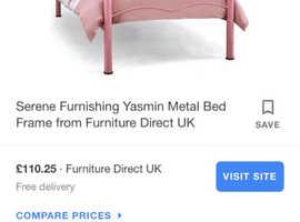 Single metal bed frame - white - heart design