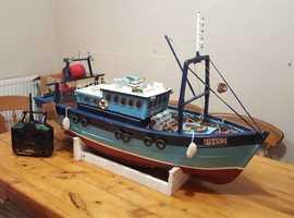 Hand built wood model trawler boat