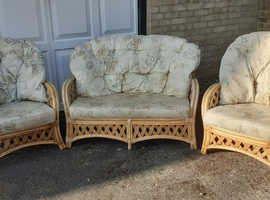 Wicker Settee and 2 Armchairs, will sell separately