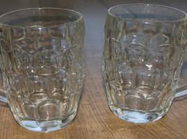 2 Vintage 1 Pint Dimpled Beer Glasses (GR478)