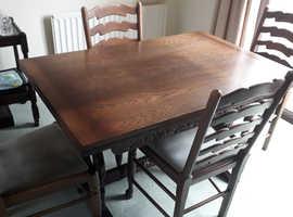 Oak Table & 4 Chairs - Dark Wood