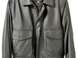 Perrone Black Leather Aviator Jacket. Size L. Excellent condition