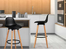 COSTWAY 2 x PU Leather Bar Stool with Footrest HW66345BK-2