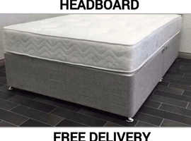 """4ft6"""" Double bed with free grey leather headboard"""