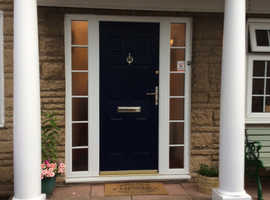 Rock door recently replaced. Blue outside white inside. Famous composite doors for security and insulation.