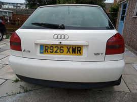 Audi A3, 1999 1,8 Sports, (S) White Saloon, Manual Petrol, 175 miles