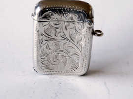 Rare William Hair Haseler Edwardian Sterling Silver Vesta Case Bir.1908.