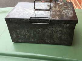 Vintage metal tool storage box REDUCED