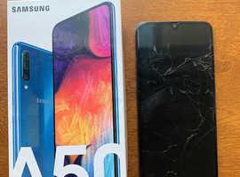 Samsung Galaxy A50 - 128GB - Blue (O2) Damaged screen